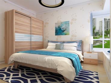 北塘水岸花園現代簡約臥室效果圖