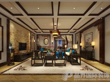 鲁能领秀城别墅新中式四室三厅装修效果图