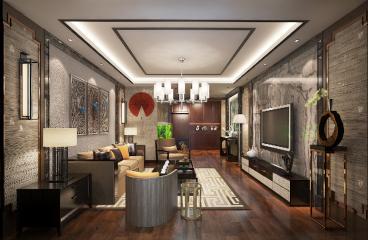 呼市永泰城新中式一室二厅装修效果图