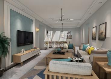 海伦国际现代简约三室二厅装修效果图