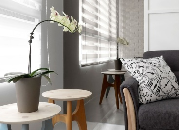 北欧云筑现代简约二室一厅装修效果图