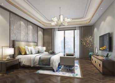 碧桂园如山潮城新中式卧室效果图