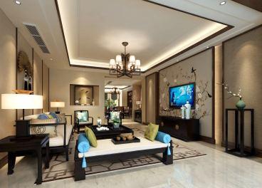 领尚新中式三室二厅装修效果图