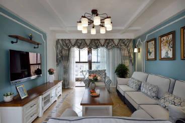 呈贡时代俊园三室二厅美式装修效果图