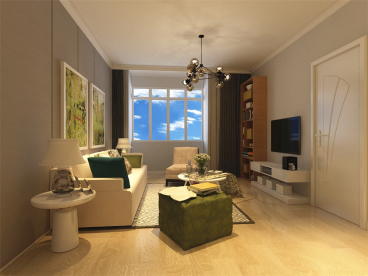 世茂城二期现代简约客厅效果图