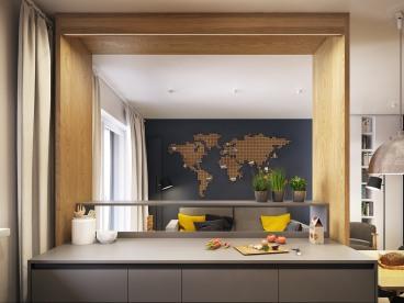 海伦国际现代简约厨房效果图