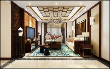 和平村新中式客厅效果图