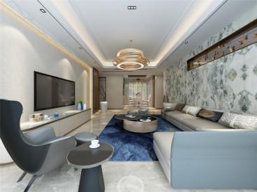 天津富力新城现代简约客厅效果图