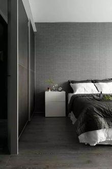 黑白灰装修现代简约卧室效果图
