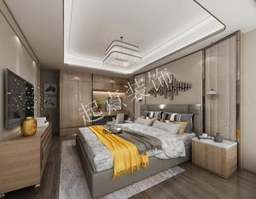 城北国际村现代简约卧室效果图