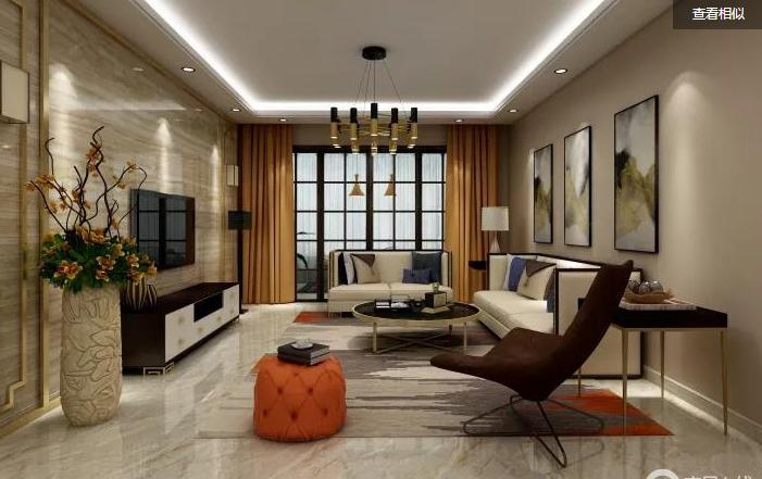 建板新苑现代简约客厅效果图