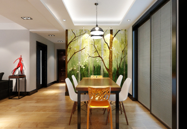 银河湾三室两厅135平方 现代简约餐厅效果图