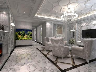 金地紫乐府欧式古典客厅效果图
