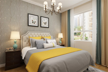 白鹭湾花园美式卧室效果图