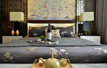 山水龙庭新中式卧室效果图