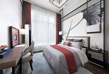 鲁商蓝岸丽舍新中式卧室效果图