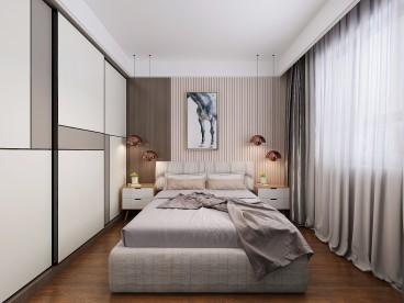 龙湖春江郦城现代简约卧室效果图
