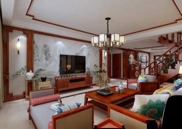 碧海绿洲新中式客厅效果图