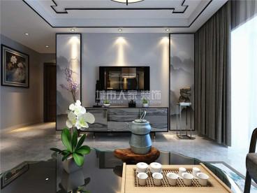 蓝光公园华府新中式客厅效果图