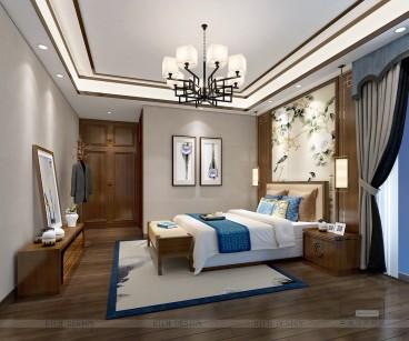 港铁天颂中式卧室效果图