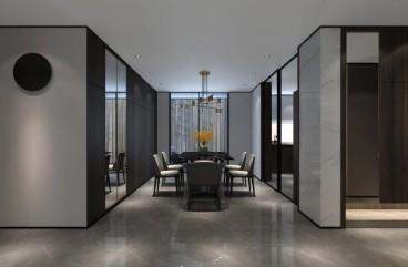 建业桂圆现代简约餐厅效果图