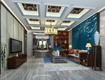 K2百合湾写字楼新中式客厅效果图