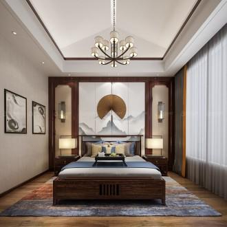 世茂石湖湾新中式卧室效果图