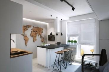 玫瑰湾现代简约厨房效果图