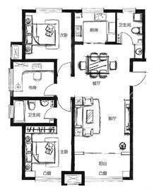 天房天拖121平二室二厅装修效果图