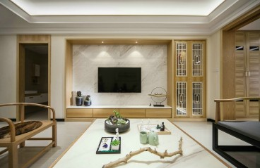 白桦林间新中式客厅效果图