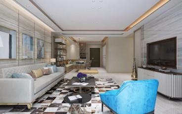 华润翡翠城122平现代轻奢风-晋级装饰现代轻奢客厅效果图