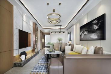 恒大中央公园现代轻奢客厅效果图