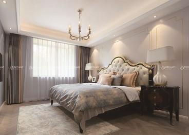 新世界花园现代轻奢卧室效果图