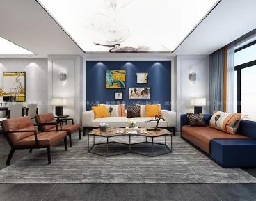 长风世纪广场现代简约客厅效果图