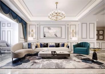 南湖艺境现代轻奢客厅效果图