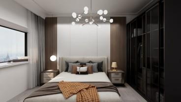 金辉世界城现代简约卧室效果图