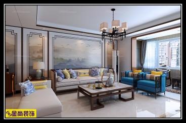 万达文旅1期(建设中)新中式客厅效果图