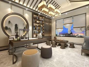 上海机场航华小院别墅单间新中式书房效果图