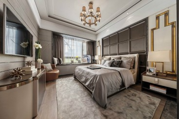 华发新城3期现代轻奢卧室效果图