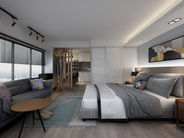 保利新世界花园公寓现代简约卧室效果图