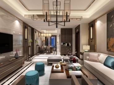 和达璟城·紫御(建设中)新中式客厅效果图