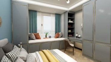 春风里现代轻奢卧室效果图