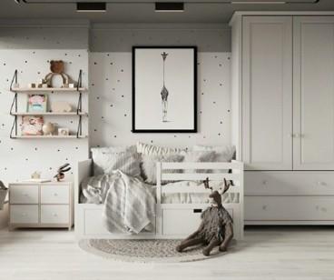 木质的温馨感,74㎡静雅非凡质感美现代简约儿童房效果图