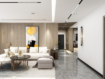 万隆城现代轻奢客厅效果图