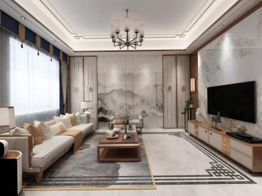 裕興家園中式客廳效果圖