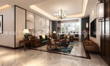 凤凰城新中式客厅效果图