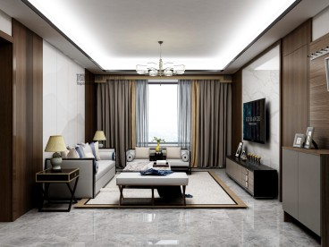 三星凤凰府(建设中)现代轻奢客厅效果图