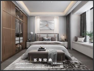 舜江花园现代轻奢卧室效果图