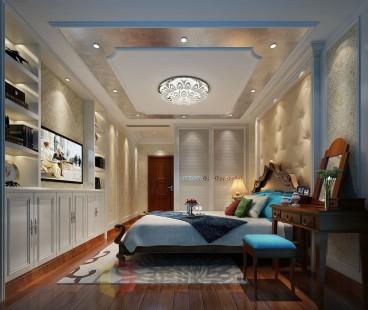 海鸥岛美式卧室效果图