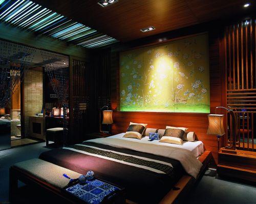东南亚卧室吊顶效果图